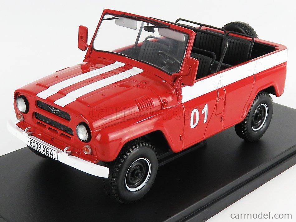 EDICOLA ABACR064 Masstab: 1/24  UAZ 469B N 01 CABRIOLET OPEN FIRE ENGINE 1972 RED WHITE