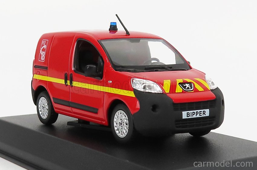NOREV 479838 Scale 1/43  PEUGEOT BIPPER VAN FIRE ENGINE 2009 RED YELLOW