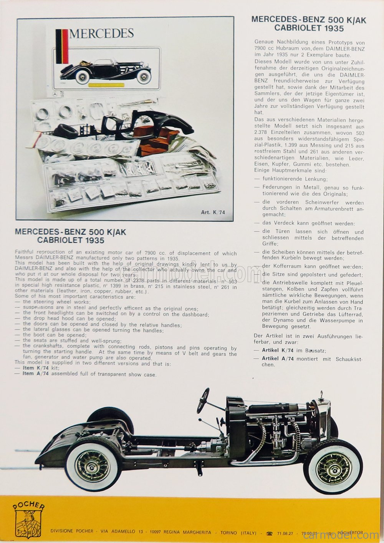 POCHER K74 Scale 1/8  MERCEDES BENZ 500K AK CABRIOLET 1935 UNPAINTED
