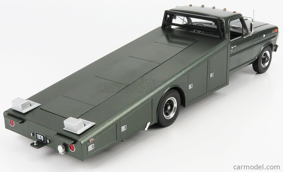 ACME-MODELS A1801411 Scale 1/18  FORD USA F-350 TRUCK RAMP CAR TRANSPORTER 1970 GREEN