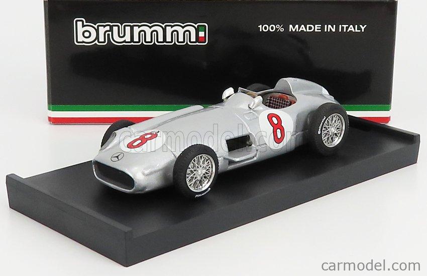 BRUMM R072-UPD-2021 Scale 1/43  MERCEDES BENZ F1 W196 N 8 WINNER HOLLAND GP JUAN MANUEL FANGIO 1955 WORLD CHAMPION SILVER