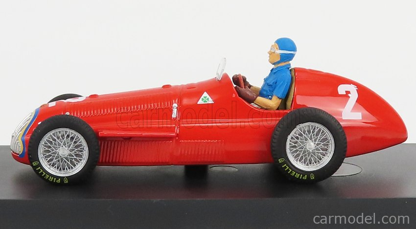 BRUMM R043-CH-UPD-2021 Scale 1/43  ALFA ROMEO F1  159 N 2 WINNER BELGIUM GP JUAN MANUEL FANGIO 1951 WORLD CHAMPION - WITH DRIVER FIGURE RED