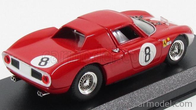 BEST-MODEL 9187 Scala 1/43  FERRARI 250 LM N 8 2ND 12h REIMS 1964 J.SURTEES-L.BANDINI RED WHITE