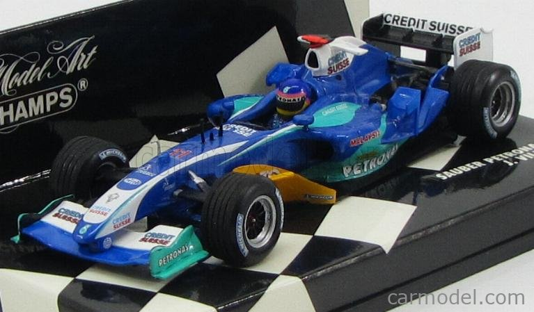 MINICHAMPS 400050011 Scale 1/43  SAUBER F1 PETRONAS C24 N 11 RACE VERSION 2005 J.VILLENEUVE BLUE YELLOW