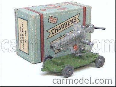 CHARBENS 31 Echelle 1/66  TRAILER WITH GUN MILITARY GREEN