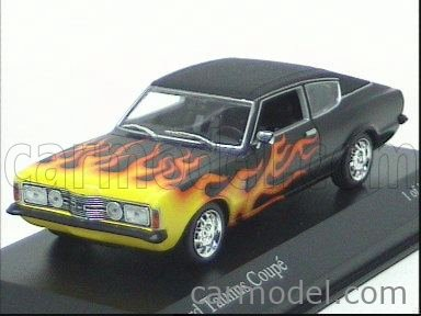 MINICHAMPS 400081322 Scale 1/43  FORD ENGLAND TAUNUS COUPE WITH FLAME 1970 BLACK