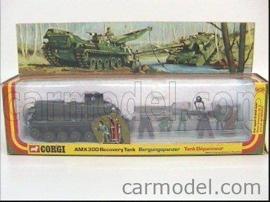 CORGI 908 Echelle 1/43  AMX 30D RECOVERY TANK + GUN AND FIGURES MILITARY GREEN