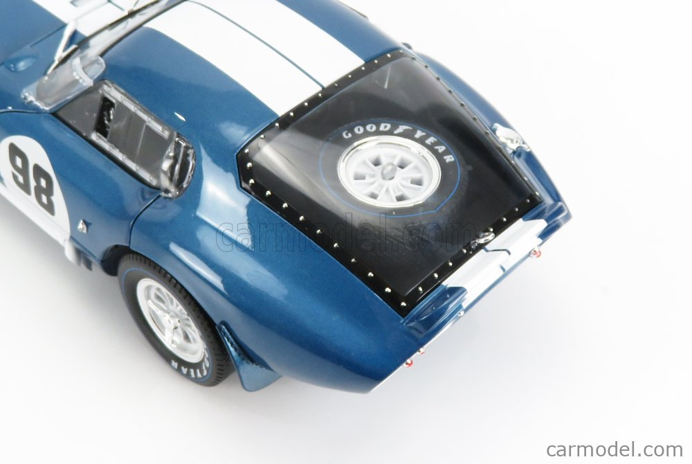 SHELBY-COLLECTIBLES SHELBY130 Scale 1/18  AC COBRA SHELBY COBRA DAYTONA COUPE N 98 1965 BLUE MET WHITE