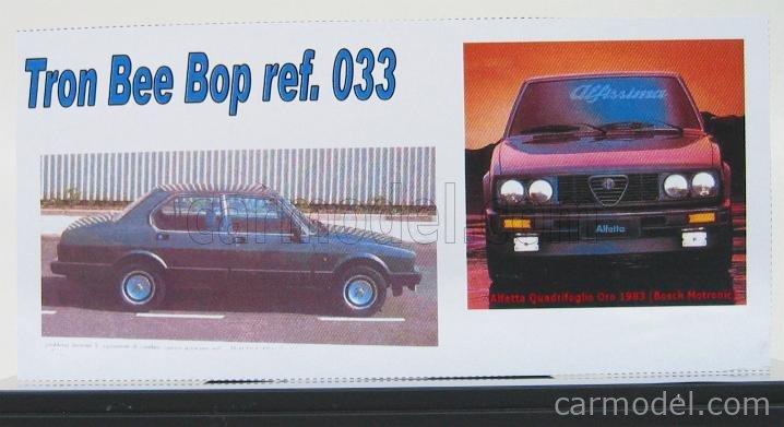 BEEBOP BB033 Scale 1/43  ALFA ROMEO ALFETTA 1983 QUADRIFOGLIO ORO DARK GREY MET