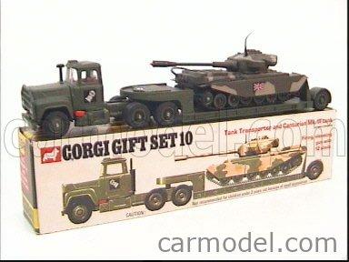 CORGI GS10 Echelle 1/43  MACK TRUCK TANK TRANSPORTER AND CENTURION TANK MILITARY GREEN
