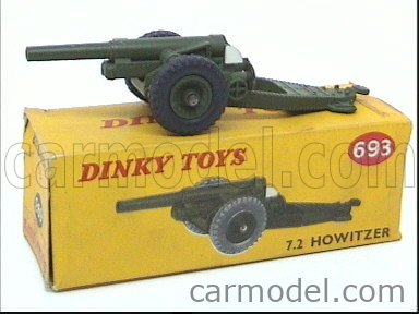 DINKY ENGLAND 693 Echelle 1/50  GUN 7.2 HOWITZER GUN MILITARY GREEN