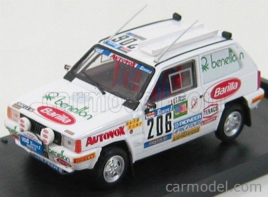 BRUMM R458 Scale 1/43  FIAT PANDA 4X4 N 206 RALLY PARIS-DAKAR 1984 HOEPFNER MARIANE - DHELIAT EVELYNE WHITE