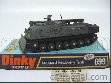 DINKY ENGLAND 699 Echelle 1/50  TANK LEOPARD RECOVERY TANK MILITARY GREEN
