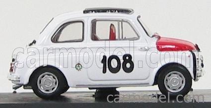 BRUMM R479 Echelle 1/43  FIAT 500 595 ABARTH N 108 TROFEO ITALIANO TURISMO WINNER COPPA GALLEGA 1965 LEONARDO DURST WHITE RED