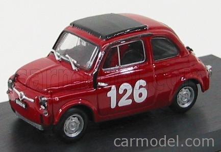 BRUMM R480 Echelle 1/43  FIAT 500 59 ABARTH N 126 PREMIO CAMPAGNANO VALLELUNGA 1965 RAFFAELE PINTO RED