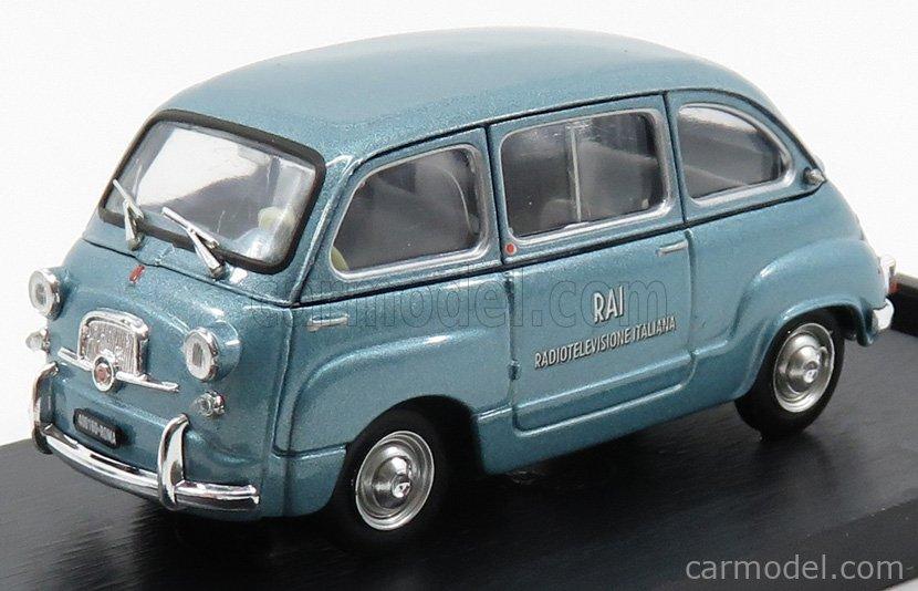 BRUMM R484 Echelle 1/43  FIAT 600D MULTIPLA RAI RADIOTELEVISIONE ITALIANA 1960 LIGHT BLUE MET