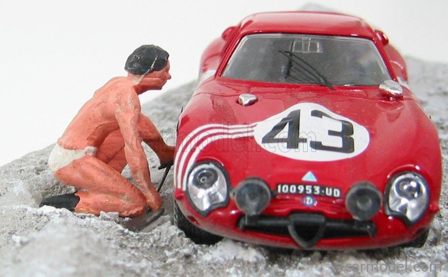 BEST-MODEL 9605 Scale 1/43  ALFA ROMEO TZ2 N 43 24h LE MANS 1965 (WITH FIGURE) ZECCOLI - ROSINSKI RED