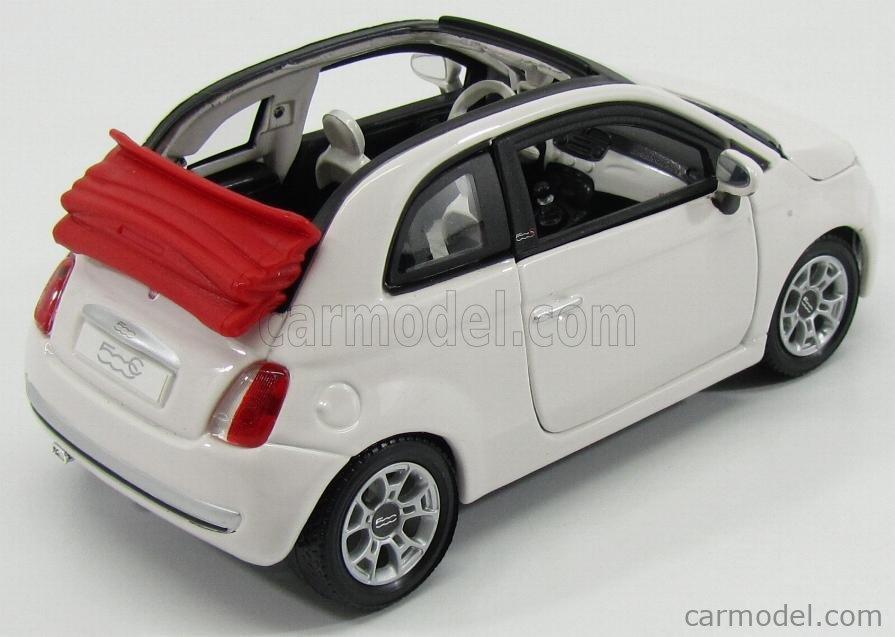 BURAGO BU22117W Echelle 1/24  FIAT NUOVA 500C CABRIOLET 2009 WHITE