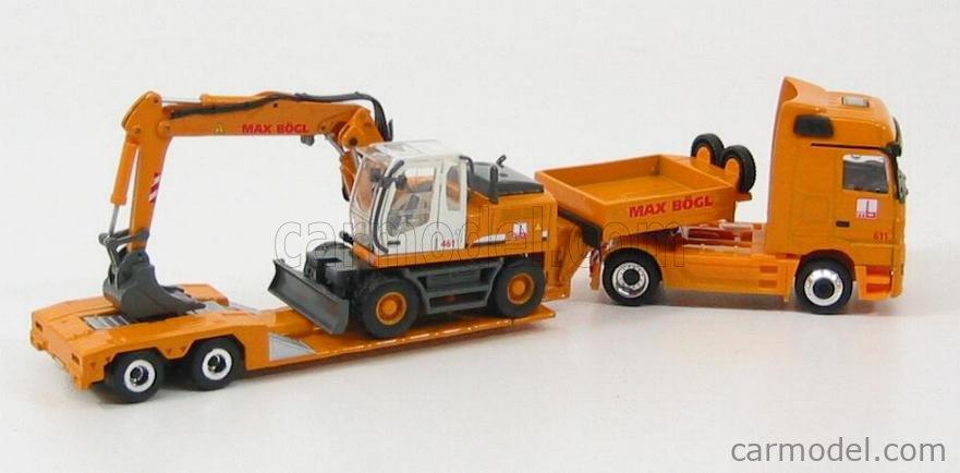 SCHUCO 23651 Masstab: 1/87  MERCEDES BENZ ACTROS V8 TRUCK + MAX BOGL 900 LIEBHERR YELLOW