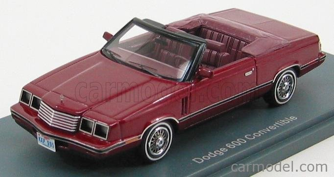NEO SCALE MODELS NEO44995 Scale 1/43  DODGE 600ES CONVERTIBLE 1984 RED MET