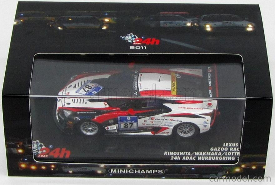 MINICHAMPS 437111687 Scale 1/43  LEXUS LFA GAZOO RACING N 87 24h NURBURGRING 2011 KINOSHITA - WAKISAKA - LOTTERER WHITE BLACK RED