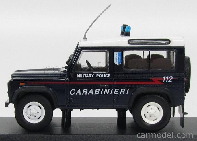 EDICOLA C081 Echelle 1/43  LAND ROVER LAND DEFENDER 90 MILITARY POLICE 1995 BLUE WHITE