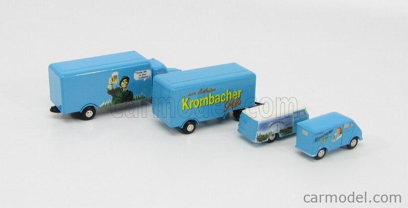 SCHUCO PICCOLO 03628 Scale 1/90  MERCEDES BENZ SET CROMBACHER PILSENER - L319 VAN 1955 - DKW SCHNELLASTER VAN 1949 - KRUPP LKW TRUCK + TRAILER 1962 LIGHT BLUE