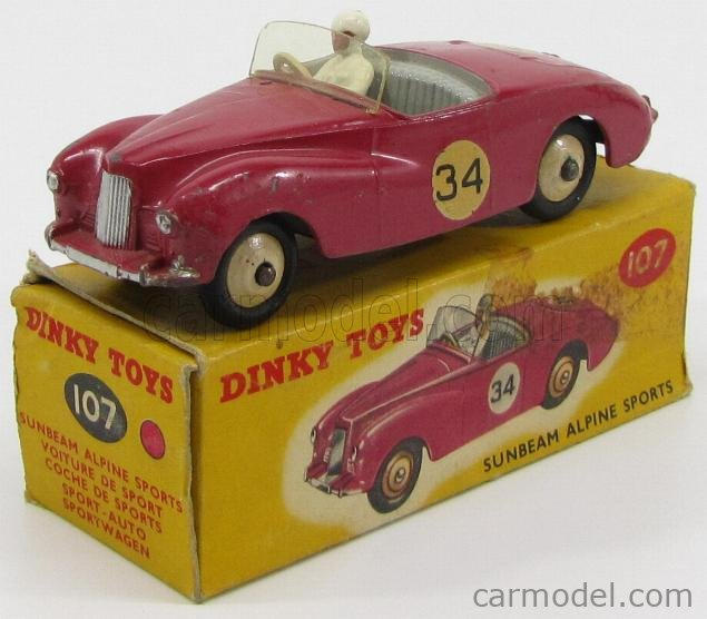 DINKY ENGLAND 107 Scale 1/43  SUNBEAM ALPINE SPORTS SPIDER N 34 RACING CAR WITH DRIVER BORDEAUX