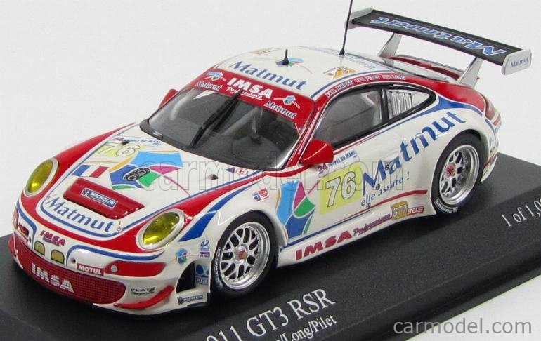 MINICHAMPS 400096976 Scale 1/43  PORSCHE 911 997 GT3 RSR TEAM IMSA PERFORMANCE MATMUT N 76 24h LE MANS 2009 R.NARAC - P.LONG - P.PILET WHITE RED