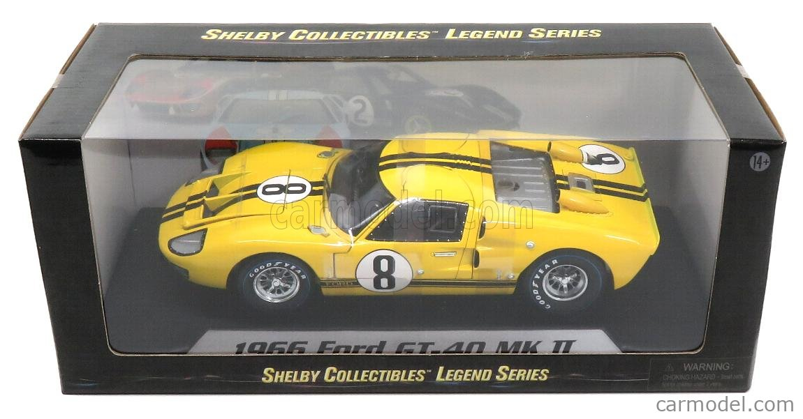 SHELBY-COLLECTIBLES SHELBY417 Scale 1/18  FORD USA GT40 MKII COUPE TEAM ALAN MANN RACING LTD N 8 24h LE MANS 1966 J.WHITMORE - F.GARDNER YELLOW BLACK