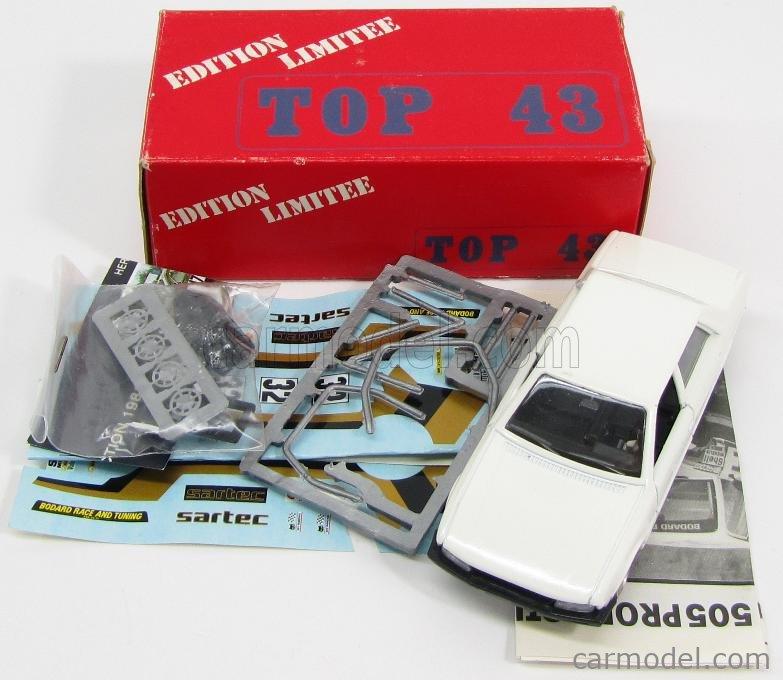 TOP43 0011 Масштаб 1/43  PEUGEOT 505 SARTEC N 32 PRODUCTION 1981 G.BLEYNIE WHITE GOLD MET BLACK
