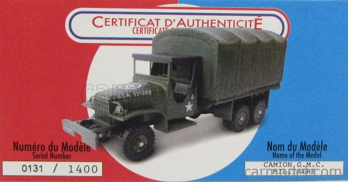 CIJ REEDITION C80602 Echelle 1/43  GMC CCKW LWB353 TRUCK MILITARY USA ARMS 1960 MILITARY GREEN