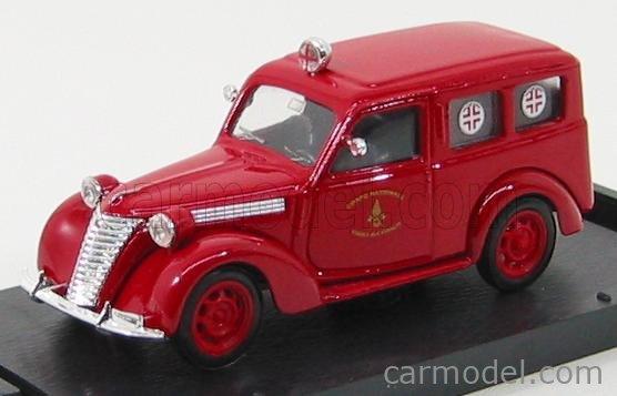 BRUMM R180B Echelle 1/43  FIAT 1100 E FIRE ENGINE AMBULANCE - VIGILI DEL FUOCO RED