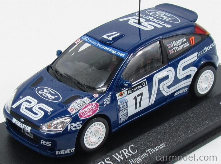 MINICHAMPS 430018997 Scale 1/43  FORD ENGLAND FOCUS RS WRC N 17 RALLY RAC LOMBARD 2001 HIGGINS - THOMAS BLUE WHITE