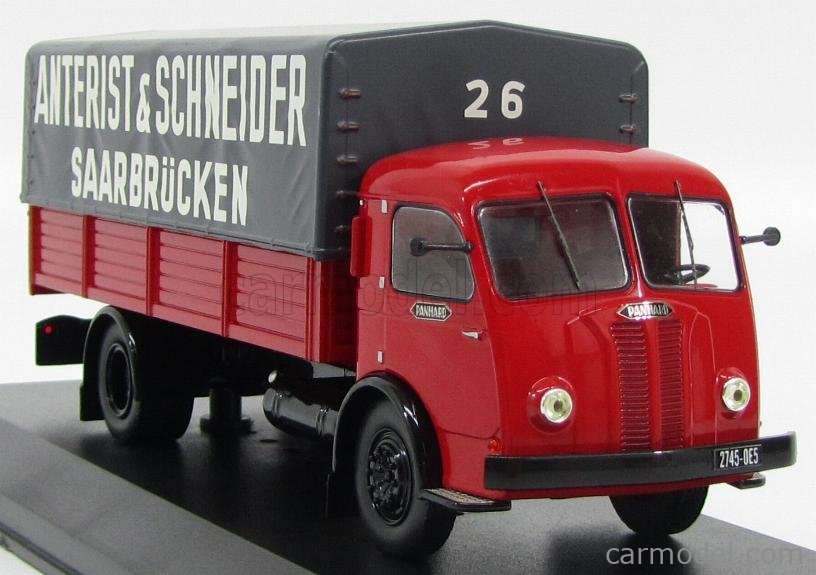 IXO-MODELS TRU014 Masstab: 1/43  PANHARD MOVIC TRUCK TELONATO ANTERIST & SCHNEIDER SAARBRUCKEN TRANSPORTS 1952 RED GREY