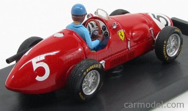 BRUMM R044-CH Echelle 1/43  FERRARI F1  500 F2 N 5 ENGLISH GP A. ASCARI 1953 WORLD CHAMPION + PILOT RED