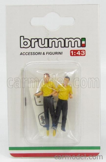 BRUMM P004F-UPD Масштаб 1/43  FIGURES 2x MECCANICI FERRARI F1  126CK 1981 YELLOW BLACK