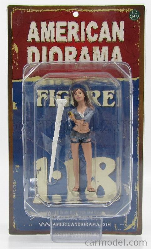 AMERICAN DIORAMA 23843 Scale 1/18  FIGURES JESSICA - WOMAN CAR WASH BLUE CREAM