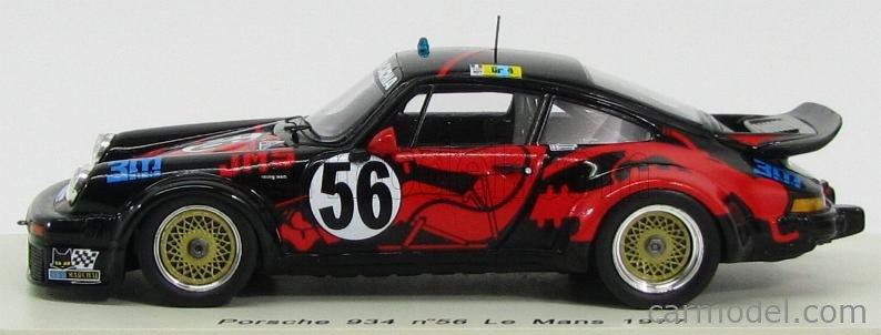 SPARK-MODEL S3403 Echelle 1/43  PORSCHE 934 TEAM JMS RACING ASA CACHIA N 56 24h LE MANS 1977 C.GRANDET - J.L.BOUSQUET - P.DAGOREAU BLACK RED