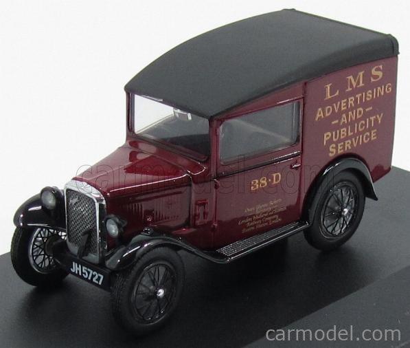 OXFORD-MODELS OX43ASV004 Echelle 1/43  AUSTIN SEVEN RN VAN PUBLICITAIRE LMS SERVICE 1923 BORDEAUX BLACK