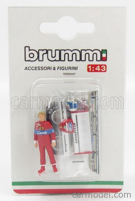 BRUMM CH02T2 Echelle 1/43  ACCESSORIES DIDIER PIRONI FOR FERRARI F1  126CK TURBO 1981 WITH HELMET + FRONT AND REAR WINGS + QUALIFYING TYRES RED