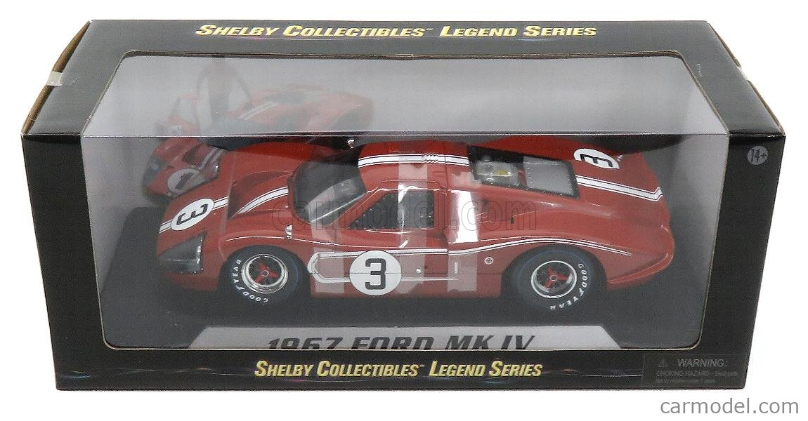 SHELBY-COLLECTIBLES SHELBY425 Scale 1/18  FORD USA GT40 MKIV 7.0L V8 TEAM FORD MOTOR COMPANY HOLMAN & MOODY N 3 24h LE MANS 1967 M.ANDRETTI - L.BIANCHI RED WHITE