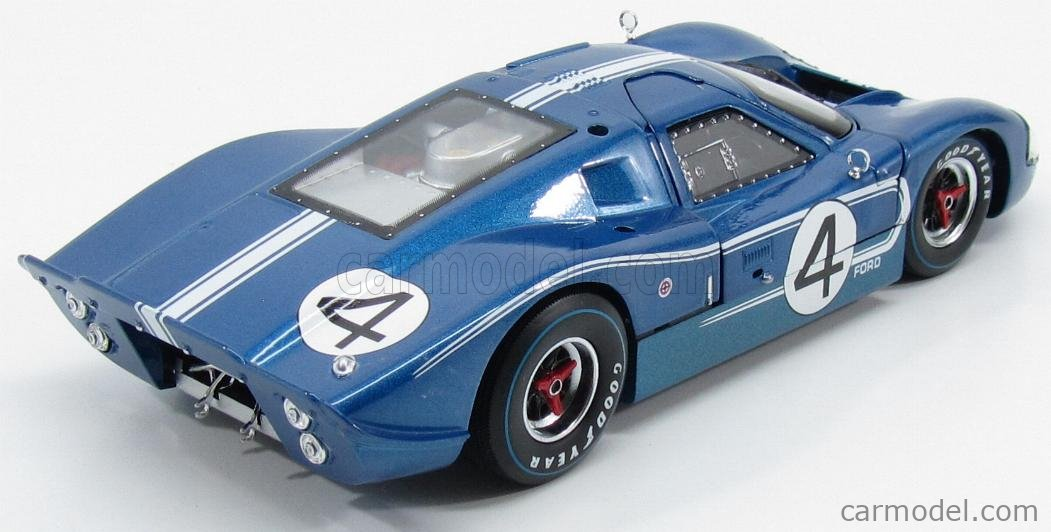 SHELBY-COLLECTIBLES SHELBY426 Scale 1/18  FORD USA GT40 MKIV 7.0L V8 TEAM FORD MOTOR COMPANY HOLMAN & MOODY N 4 24h LE MANS 1967 L.RUBY - D.HULME BLUE MET WHITE