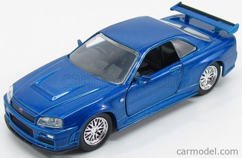 JADA 97185-24037 Masstab: 1/32  NISSAN BRIAN'S SKYLINE GT-R (R34) 2007 - PAUL WALKER - FAST & FURIOUS 7 BLUE MET