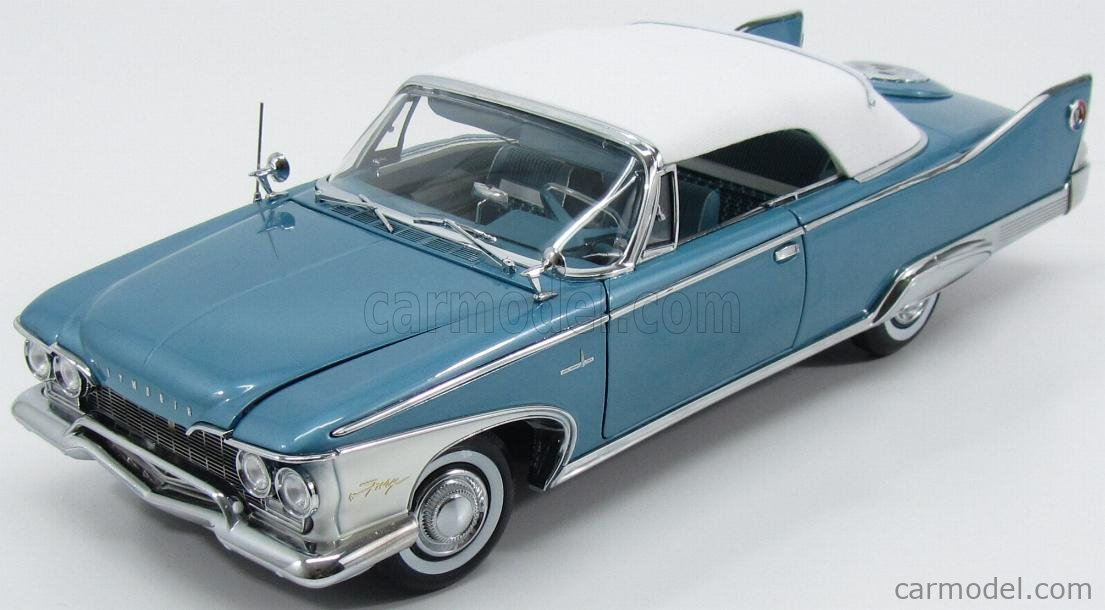 SUN-STAR 05412 Scale 1/18  PLYMOUTH FURY CONVERTIBLE CABRIOLET CLOSED 1960 TWILIGHT BLUE MET WHITE
