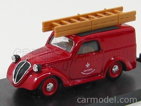 BRUMM R246 Echelle 1/43  FIAT 500B VAN VIGILI DEL FUOCO SERVIZIO PREVENZIONE 1946 RED