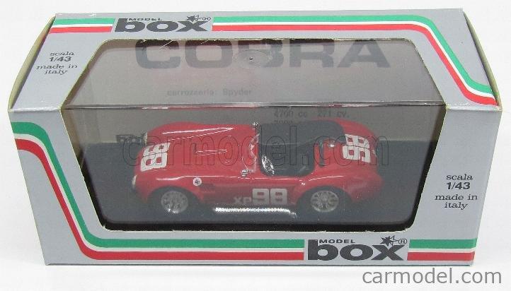 BOX-MODEL 8422 Echelle 1/43  AC COBRA SHELBY COBRA N 98 RIVERSIDE 1962 RED