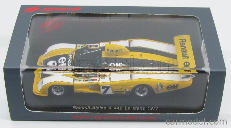 SPARK-MODEL S1553 Scale 1/43  RENAULT ALPINE A442 N 7 24h LE MANS 1977 P.TAMBAY - J.P.JAUSSAUD YELLOW