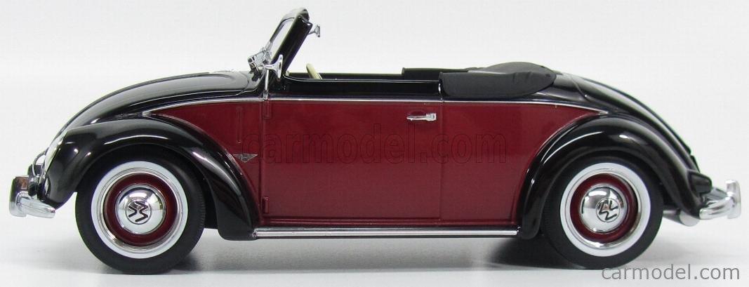 KK-SCALE KKDC180112 Echelle 1/18  VOLKSWAGEN BEETLE 1200 CABRIOLET HEBMUELLER 1949 RED BLACK