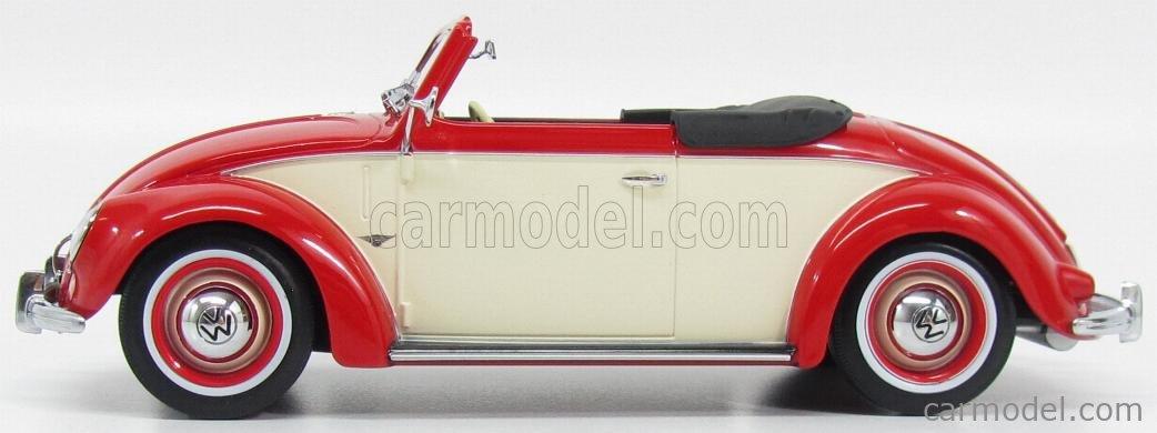 KK-SCALE KKDC180111 Scale 1/18  VOLKSWAGEN BEETLE 1200 CABRIOLET HEBMUELLER 1949 RED WHITE